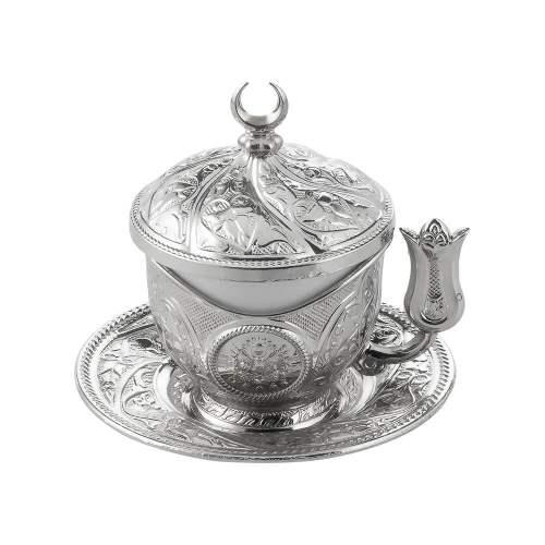 Tiryaki Silver Color Turkish Coffee - Espresso Set For Two Person