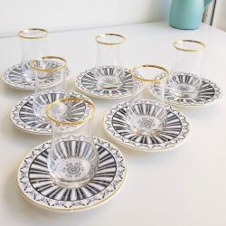 12 Pcs Luxury Turkish Tea Set with Ceramic Saucer For Six Person