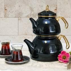 Black Color Glory Enamel Turkish Tea Pot Kettle