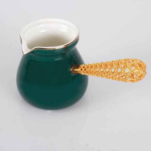 Emerald Color Telkari Porcelain Turkish Coffee Pot