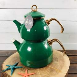 Green Color Glory Enamel Turkish Tea Pot Kettle