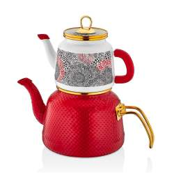 Glaze Red Enamel Turkish Tea Pot Kettle