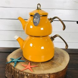 Yellow Color Glory Enamel Turkish Tea Pot Kettle