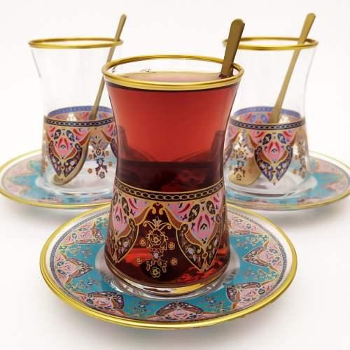 18 Pcs Pasabahce Evla Turkish Tea Set with Spoons