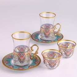 18 Pcs Pasabahce Evla Turkish Tea Set with Mirra Cups