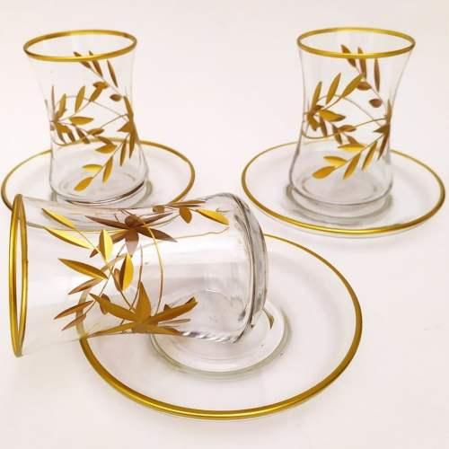 Gold Gilded Flower Pattern Turkish Tea Set
