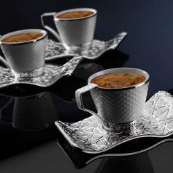Luxury Silver Color Turkish Coffee Cup Set For Six Person