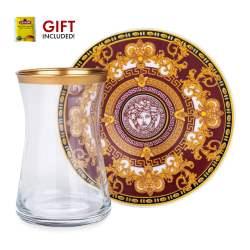 12 Pcs Burgundy Medusa Turkish Tea Set For Six Person
