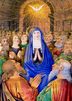 La paloma del Espíritu Santo descendiendo sobre Nuestra Señora y los Apóstoles en Pentecostés