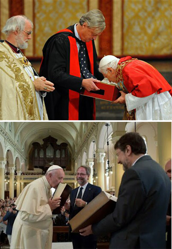 Papas conciliares se besan Biblias protestantes