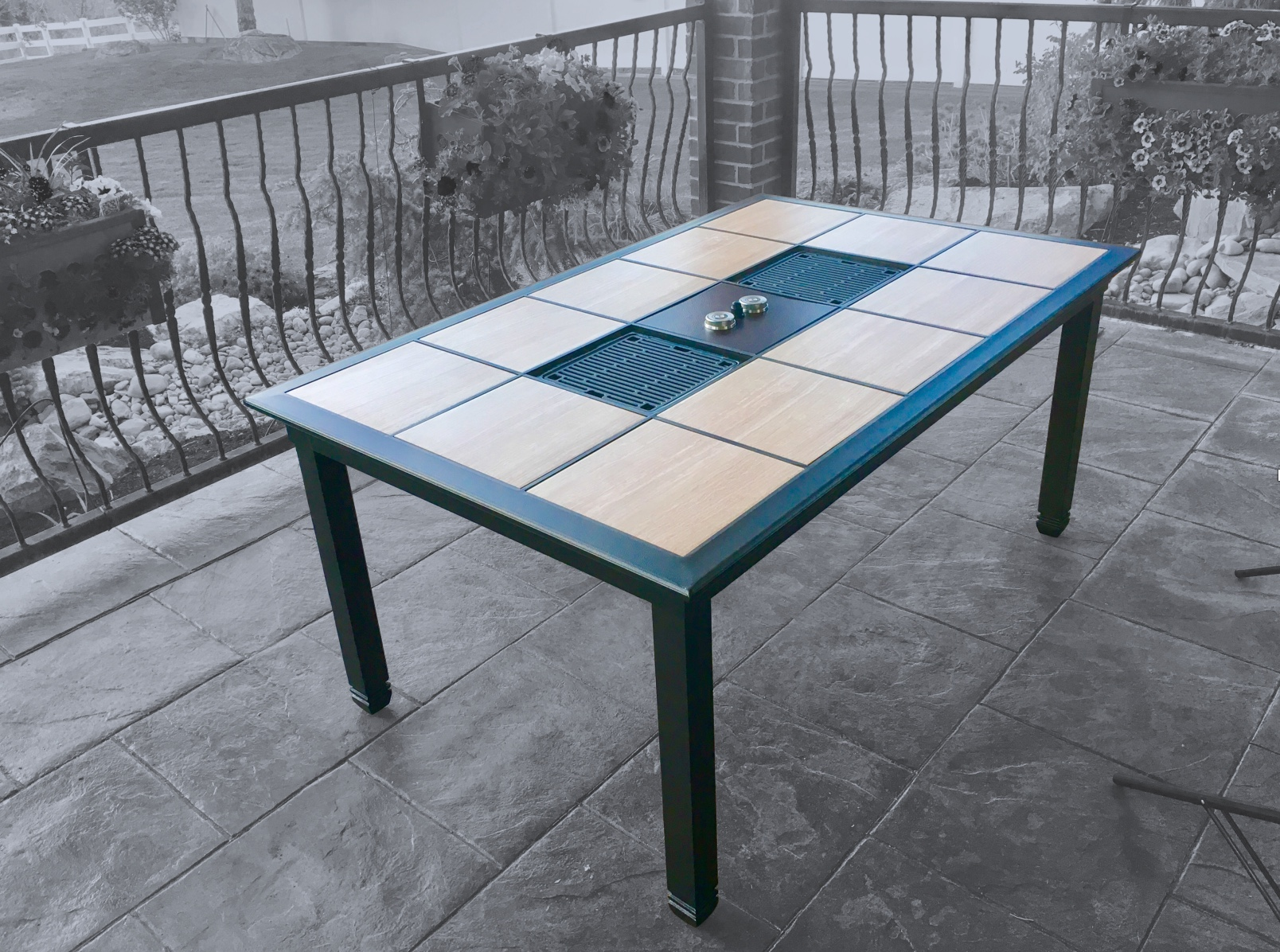 traditions outdoor patio dinning table with propane infrared grills