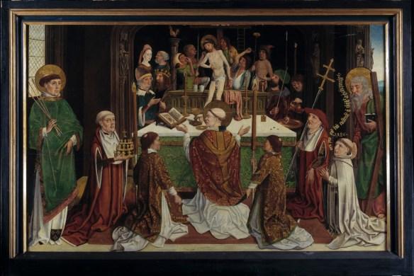 meester-van-de-heilige-sippe_gregoriusmis-met-h-potentinus-van-steinfeld-h-andreas-en-de-stichter-abt-reinier-hundt-1486