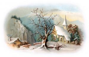 Church and snow scene