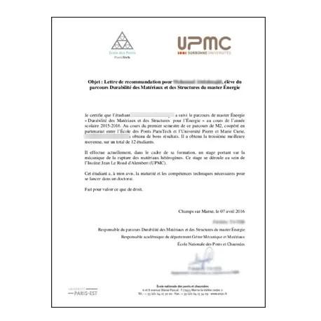 Traduction assermentée lettre de recommandation