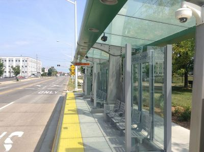 A Silver Line BRT stop in Grand Rapids, Mich. (Photo by ByteofKnowledge)