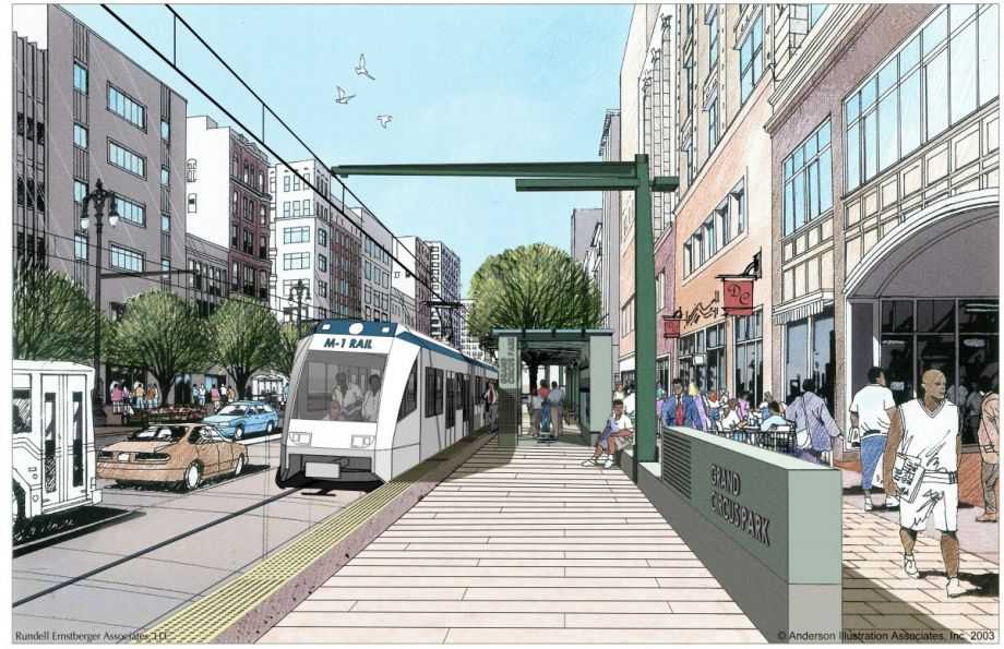 An artist rendering provided by the M-1 Rail streetcar project shows the proposed 3.3-mile streetcar line in Detroit. (AP Photo/M-1 Rail)