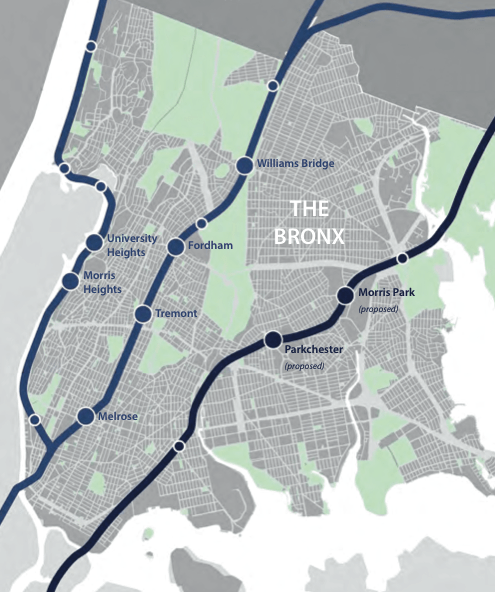 The study examined development opportunities and street safety needs around eight existing and proposed Metro-North stations. Image: DCP