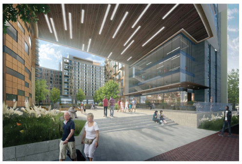 A rendering of the proposed Elizabeth Square development near the downtown Silver Spring Metro station. (Lee Development Group and Housing Opportunities Commission of Montgomery County)