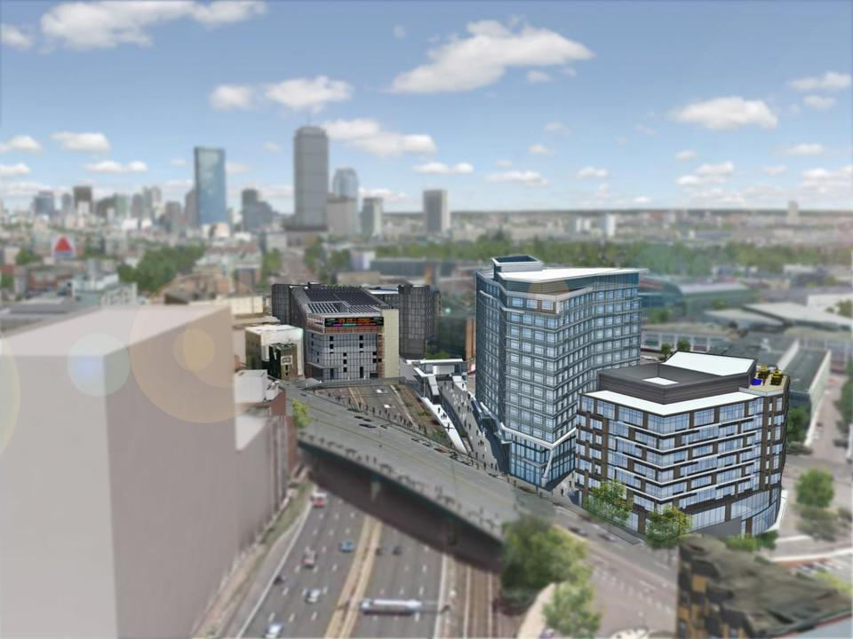 A view of the east side of the proposed Fenway Center. The project calls for the construction of five buildings on 4.5 acres of land and air rights over the Turnpike.