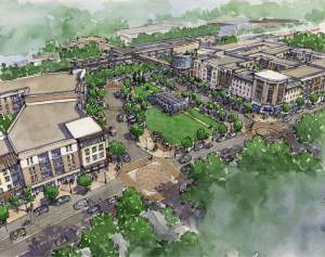 A rendering of the planned Candler Park/Edgewood Transit-Oriented Development. The Columbia Ventures project will feature about 400 apartments, 10,000 square feet of retail and a public park. Construction is expected to begin by early 2016. The development is estimated to generate 387 to 540 new daily transit trips for MARTA.