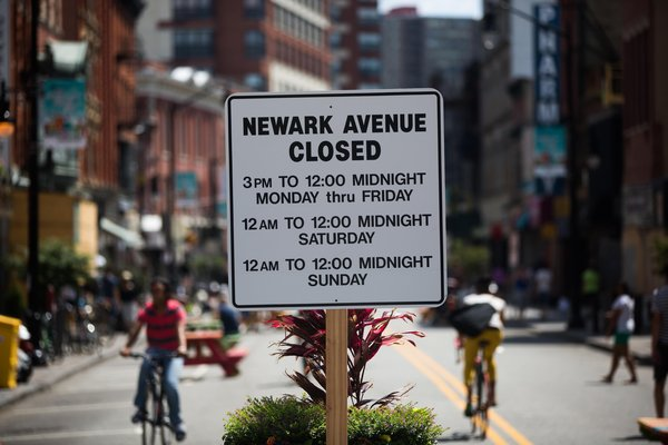 The blocklong stretch of downtown Jersey City's main thoroughfare has been closed to cars and trucks from 3 p.m. until midnight on weekdays and throughout the weekend. Credit Piotr Redlinski for The New York Times
