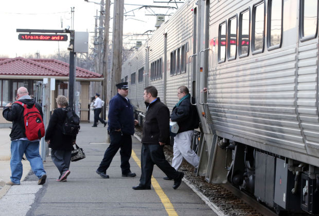 Passengers get off a South Shore train at the Miller stop. The stop is being targeted for big improvements by the city of Gary and South Shore operator Northern Indiana Commuter Transportation District.