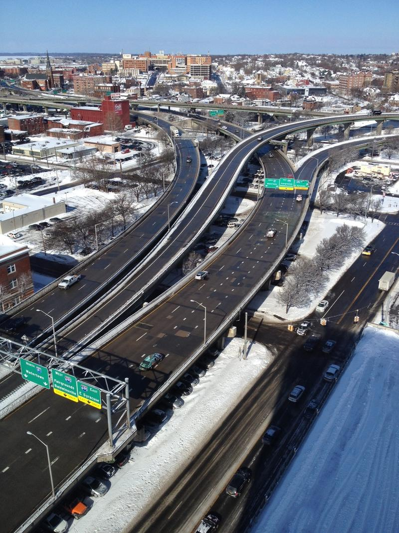I-81 looking north at the I-690 interchange from the top floor of the Crowne Plaza Hotel.