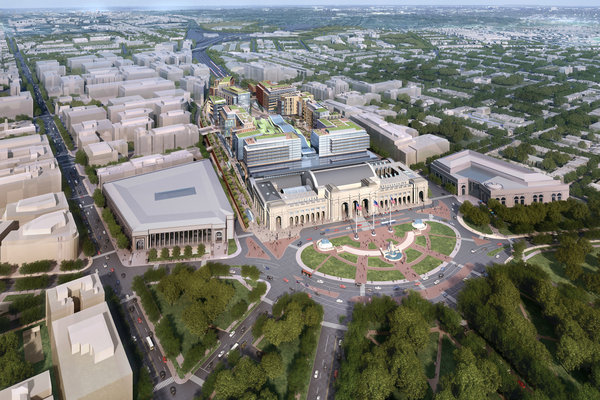 A rendering of the proposed plans for Burnham Place at Union Station in Washington. Credit Akridge and Shalom Baranes Associates