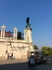 The statue of the mythical Turul bird, overlooking the city of Budapest (10-31-14)