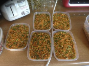 Multiply portions ready for freezing