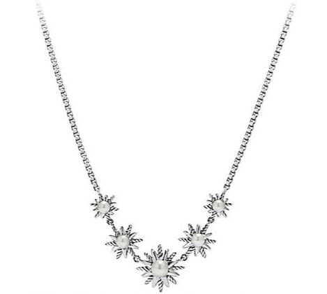 DAVID YURMAN - STARDUST FIVE STATION NECKLACE WITH PEARLS