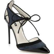 GIORGIO ARMANI - Suede & Patent Leather Cutout Ankle-tie Pumps