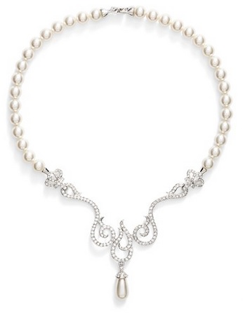 NINA - ROMANTIC CRYSTAL SWIRL-FAUX PEARL FRONTAL NECKLACE
