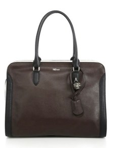Alexander McQueen Padlock Large Two tone Leather Zip Satchel