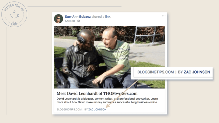 What Facebook Author Tag looks like