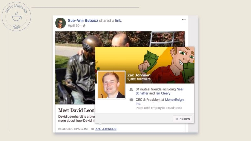 FacebookAuthor Tag with hover card