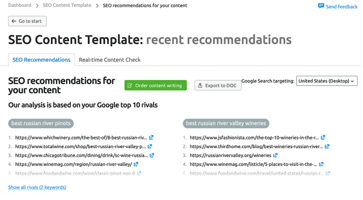 Here's what SEO Content Template generates