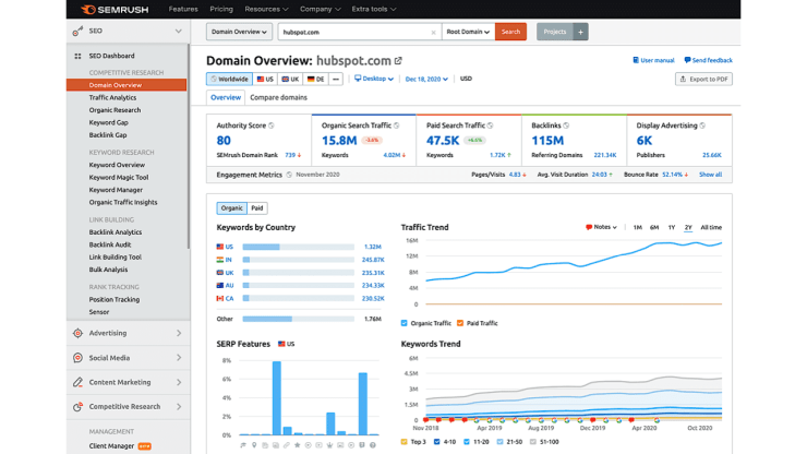 Example of SEMrush Domain Overview
