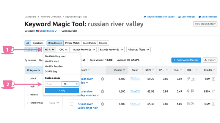 In Keyword Magic Tool apply Keyword Difficulty filter