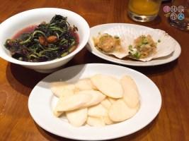 左上:上湯紅莧菜、右上:蒜蓉扇貝、下:清炒茭白