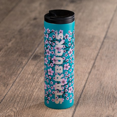 Blue Floral Stainless Steel Tumbler
