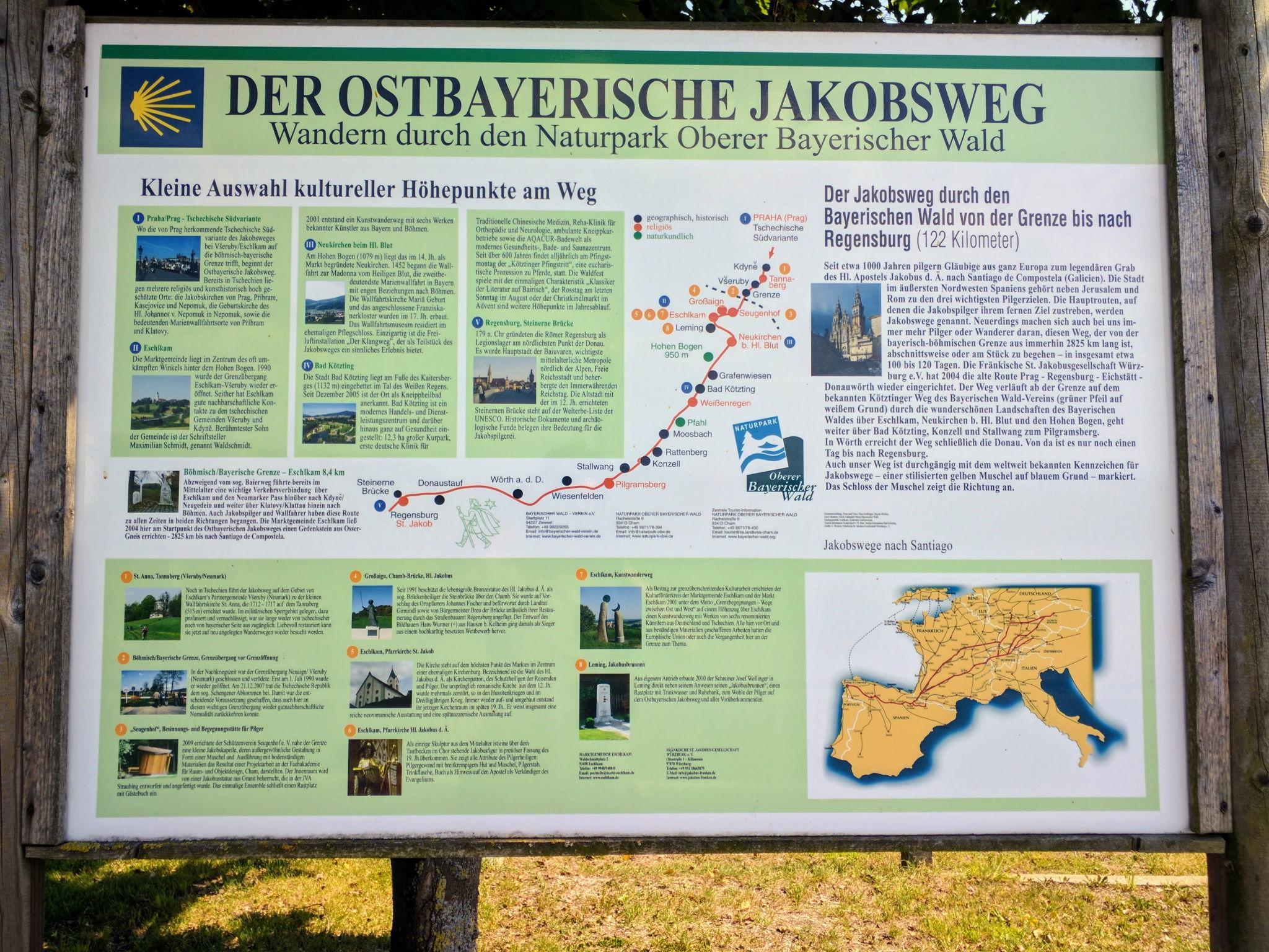 Beginn des Ostbayerischen Jakobsweges