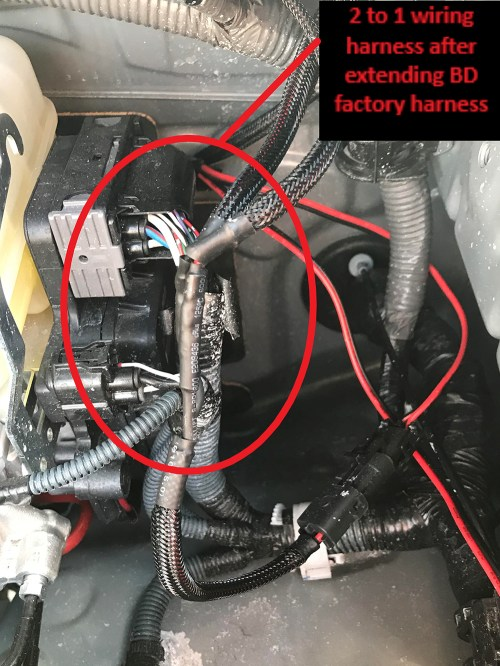 small resolution of 2 to 1 wiring harness after extension of bd harness