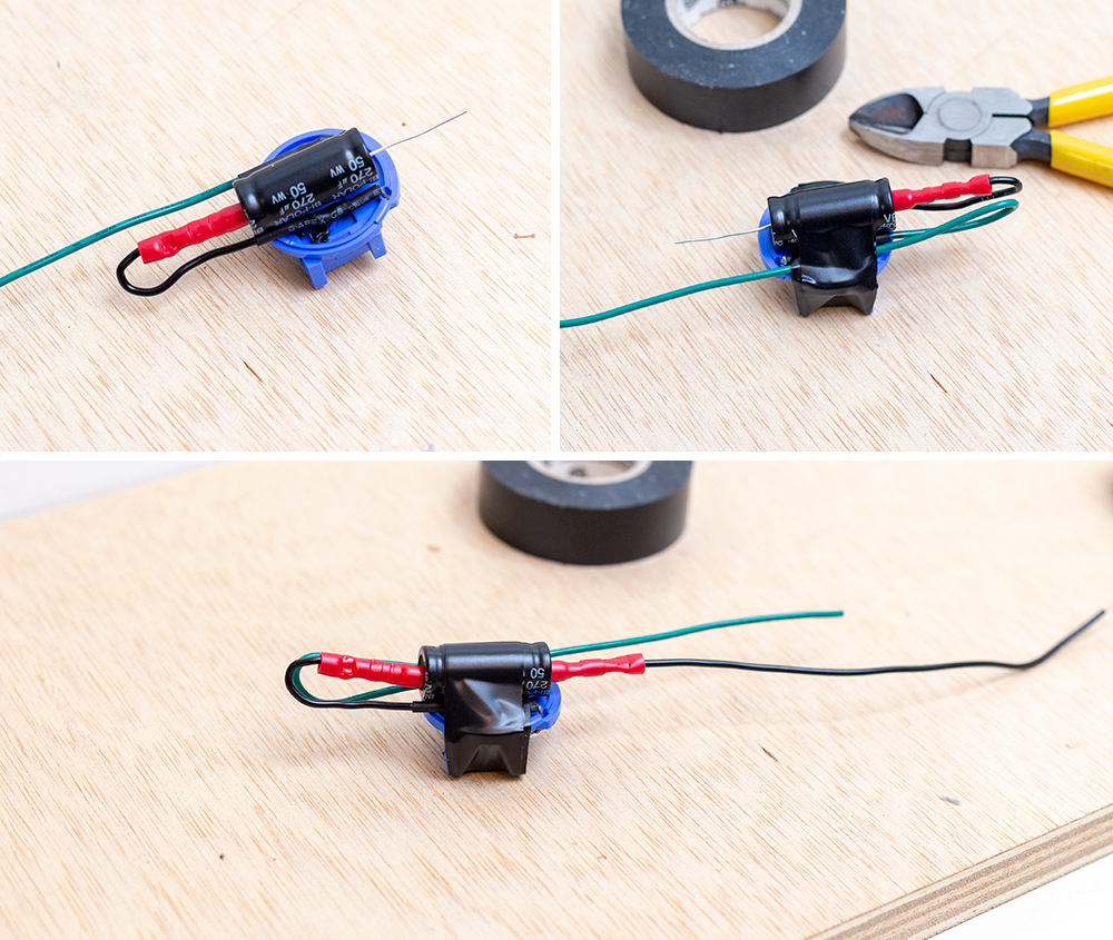 hight resolution of gently strip the ends of the two wires from the oem blue connector lengthen the factory wires with new wires solder ends and add heat shrink
