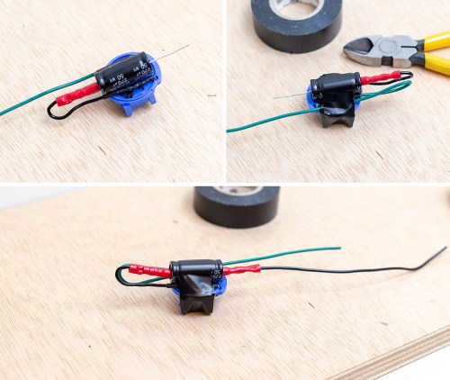 small resolution of gently strip the ends of the two wires from the oem blue connector lengthen the factory wires with new wires solder ends and add heat shrink