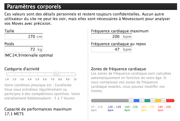Profil Movescount: paramètres corporels