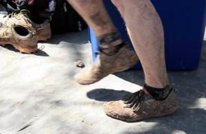 Muddy shoes at the Grasslands Trail Race