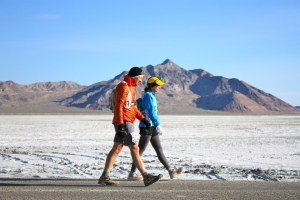 Runners walking at Salt Flats 100