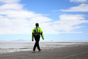 Runner walking to finish at Salt Flats 100
