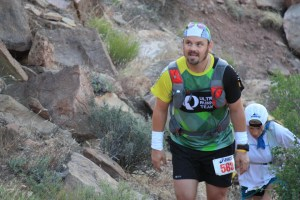 Runner with UltraSpire pack at Zion 100